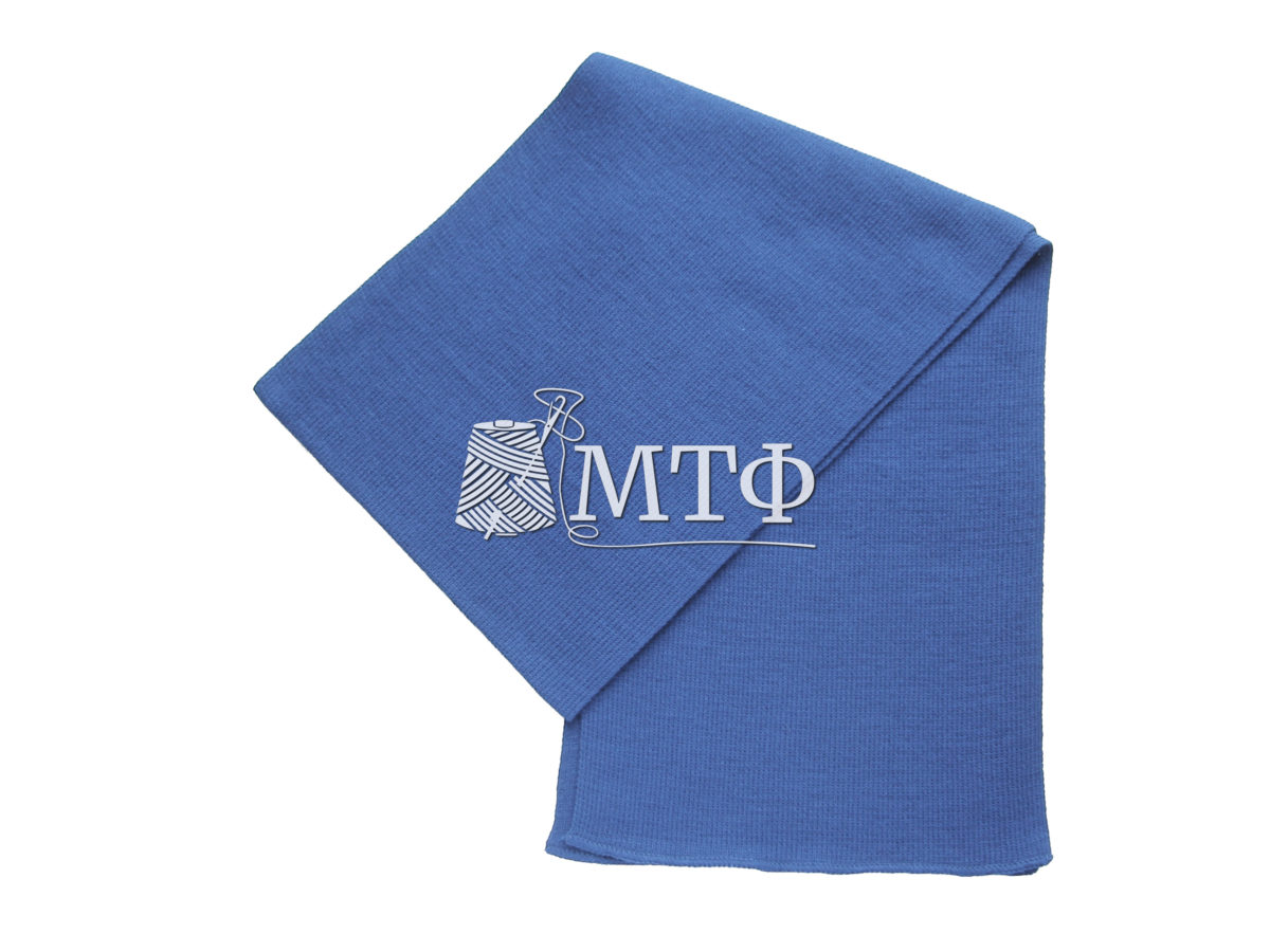 Шарф вязаный, размер 120х16, королевский синий
