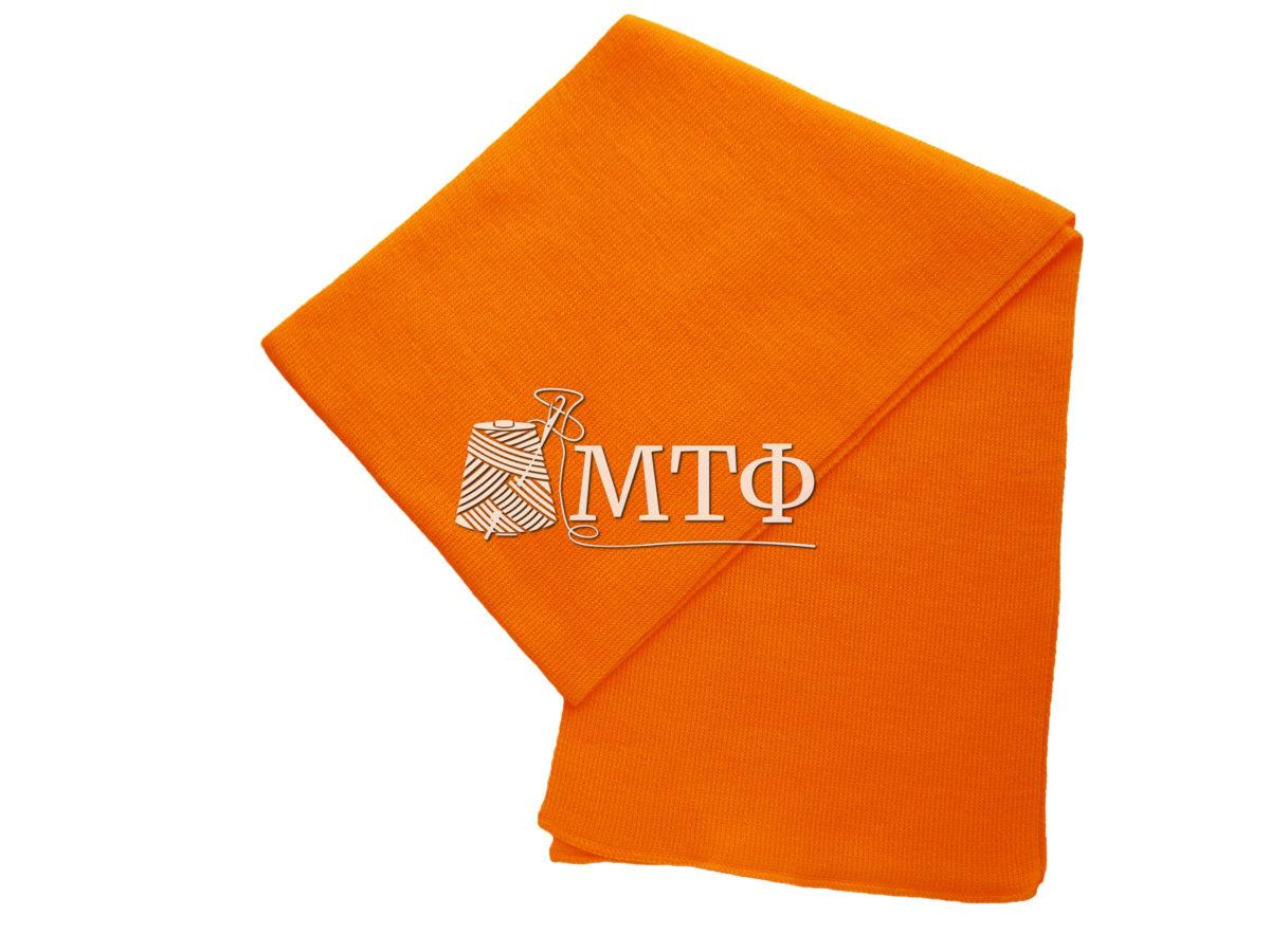 Шарф вязаный, размер 120х16, оранжевый