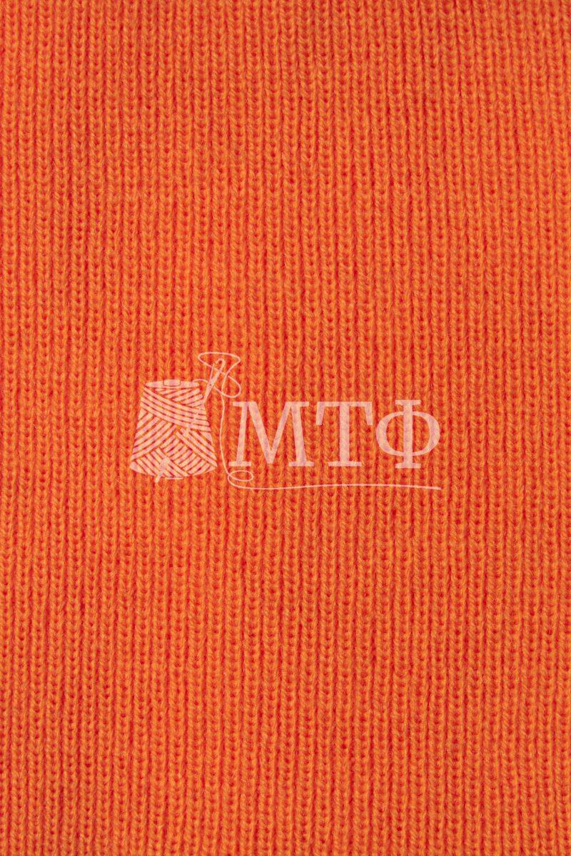 Полотно трикотажное, ластик 1х1, оранжевый