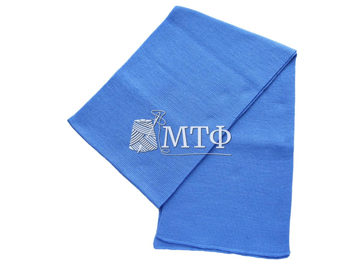 Шарф вязаный, размер 120х16, синий дождь