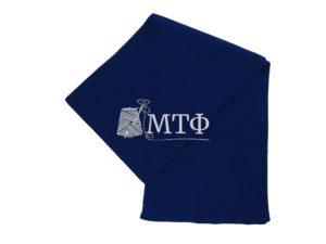 Шарф вязаный, размер 120х16, синий