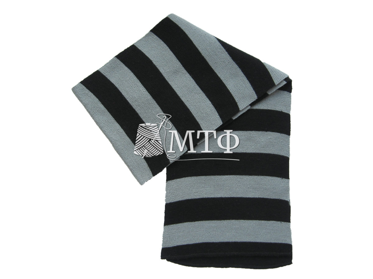 Шарф полосатый, размер 120х16, черный/серый
