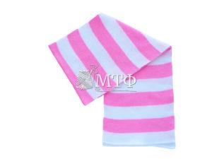 Шарф полосатый, размер 120х16, розовый/белый