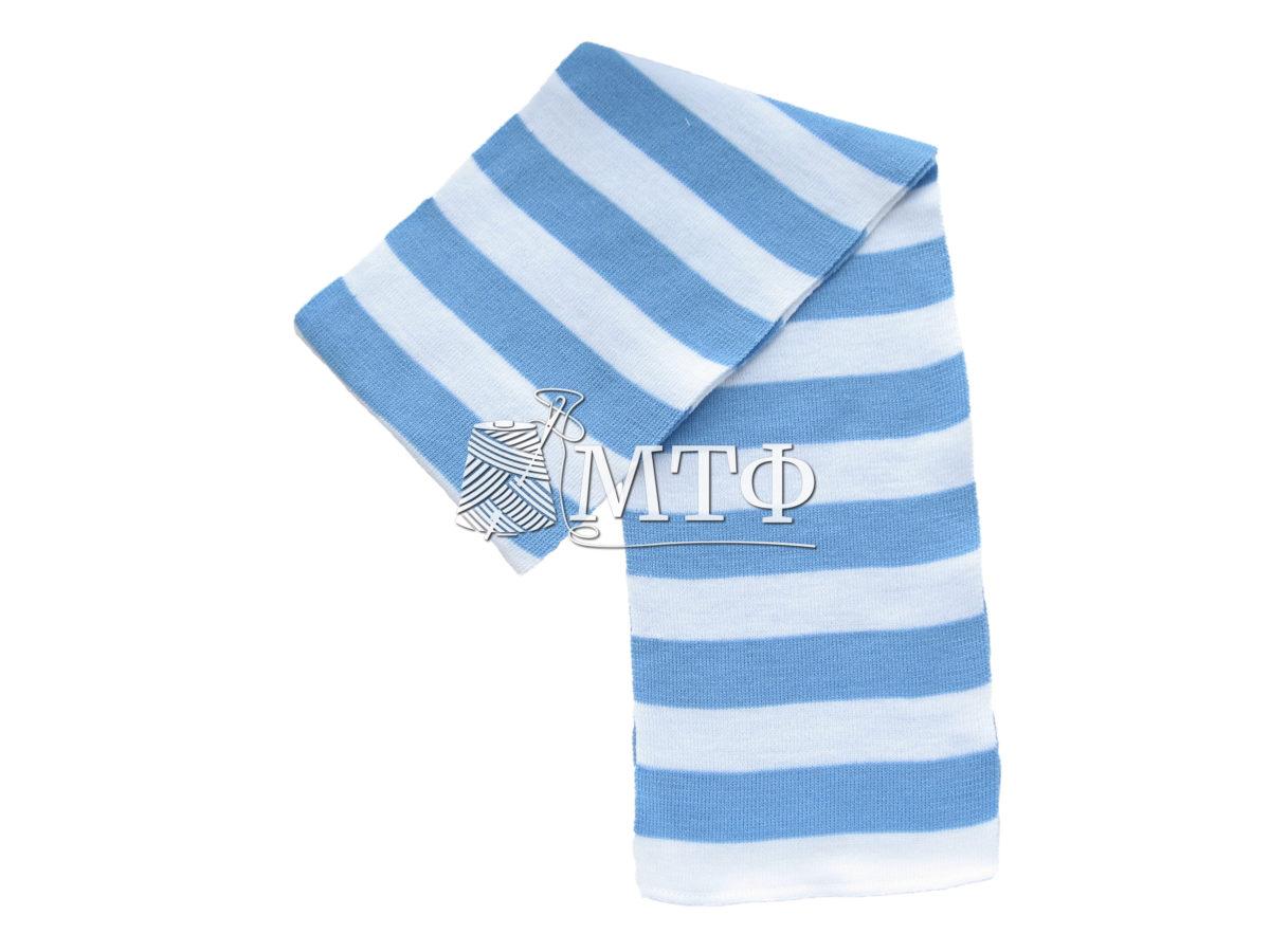 Шарф полосатый, размер 120х16, голубой/белый