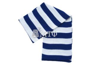 Шарф полосатый, размер 120х16, синий/белый