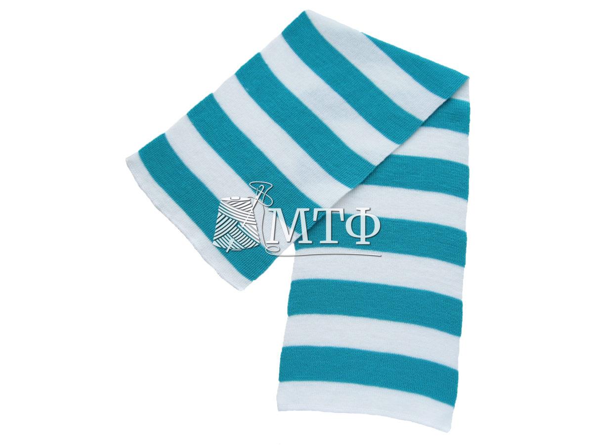 Шарф полосатый, размер 120х16, бирюза/белый