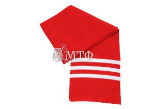 Шарф полосатый, размер 120х16, красный/белый